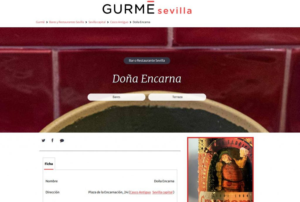 Doña Encarna en Gourmé Sevilla